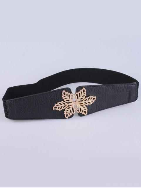 sale Hollowed Floral Elastic Belt - BLACK  Mobile