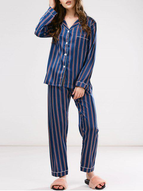 buy Cotton Striped Pajamas Set - BLUE L Mobile