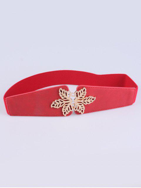buy Hollowed Floral Elastic Belt - RED  Mobile