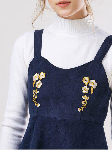 buy Embroidered Pinafore A-Line Dress With Knitwear - DEEP BLUE M Mobile
