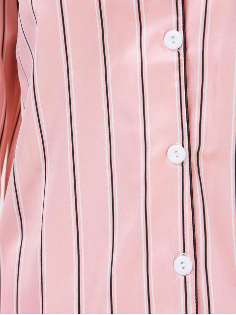 fancy Cotton Striped Pajamas Set - PINK XL Mobile