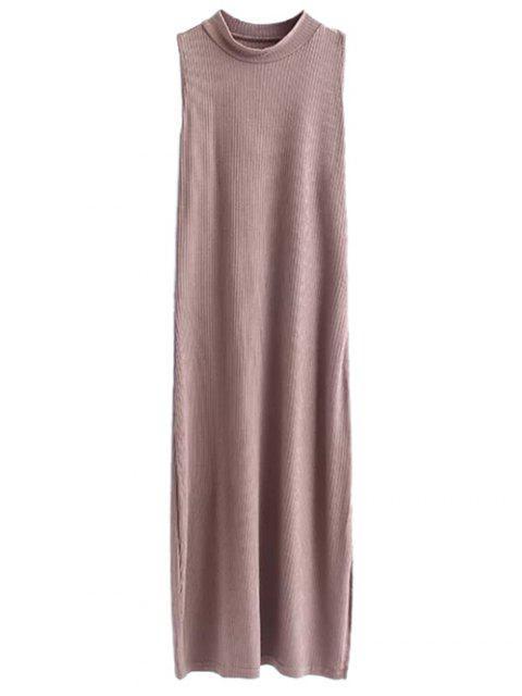 fashion Side Slit Sleeveless Mock Neck Dress - LIGHT COFFEE M Mobile