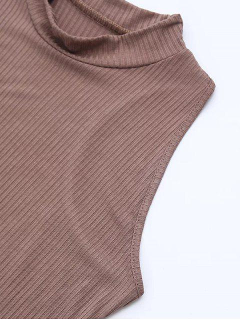 chic Side Slit Sleeveless Mock Neck Dress - LIGHT COFFEE S Mobile