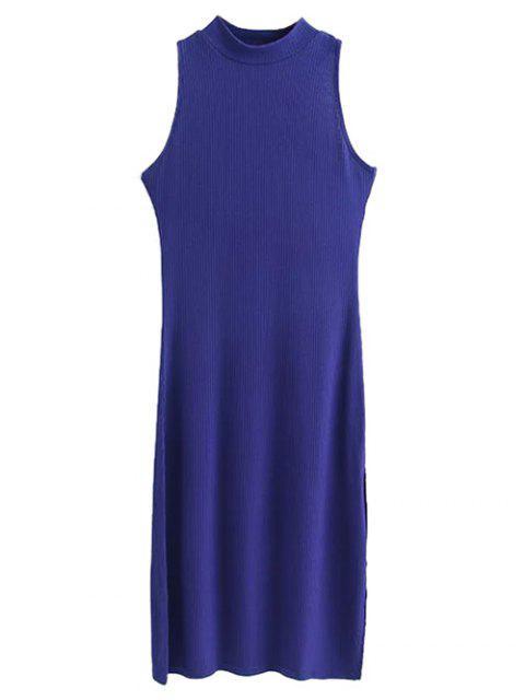 fancy Side Slit Sleeveless Mock Neck Dress - SAPPHIRE BLUE M Mobile