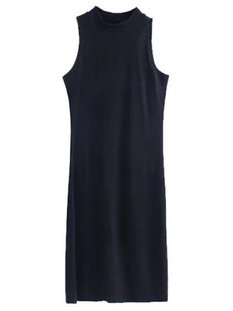 affordable Side Slit Sleeveless Mock Neck Dress - BLACK S Mobile