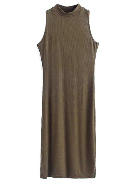 womens Side Slit Sleeveless Mock Neck Dress - ARMY GREEN S Mobile