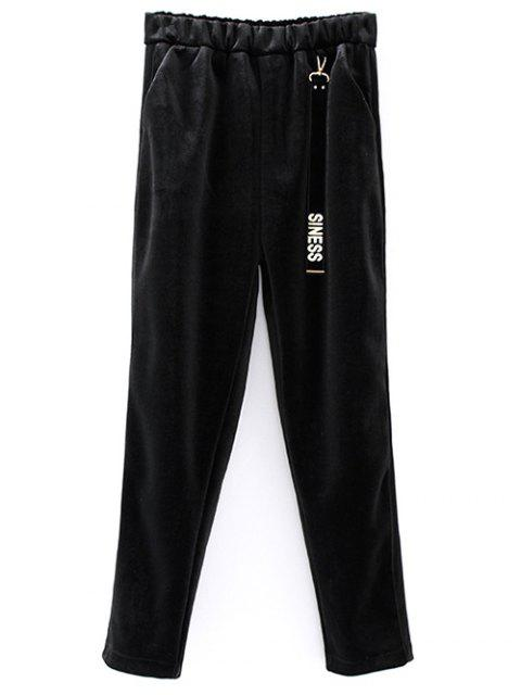 womens Siness Elastic Waist Velvet Pants - BLACK ONE SIZE Mobile