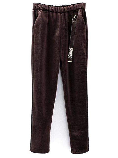 Pantalons taille élastique en velours imprimé siness - café TAILLE MOYENNE Mobile
