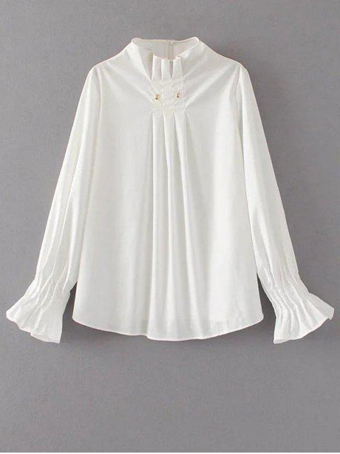 womens Flare Sleeve Draped Pullover Blouse - WHITE L Mobile