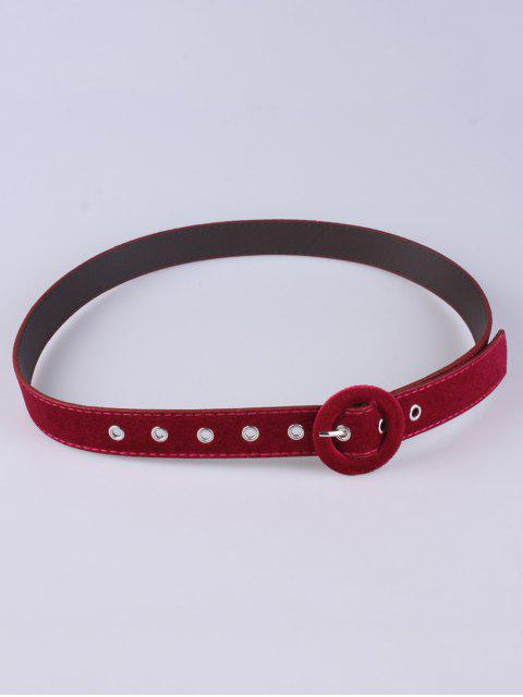online Faux Leather Velvet Belt - RED  Mobile