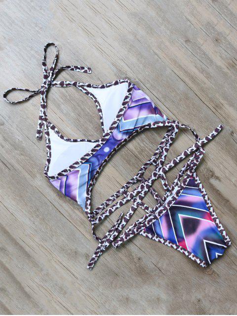 outfits Patterned Harness Swimwear - PURPLE L Mobile