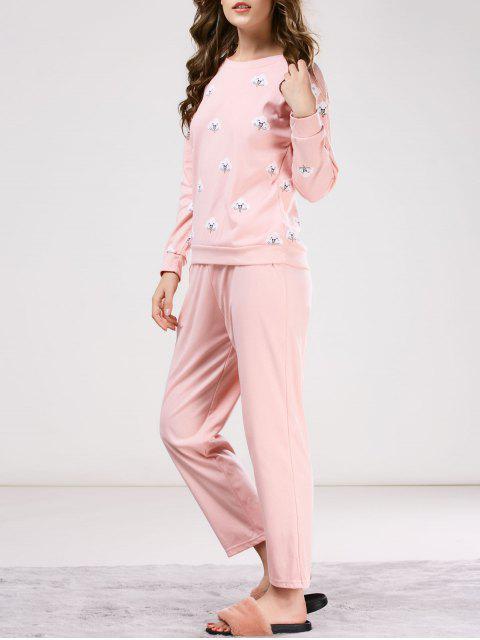 best Printed Tee with Pants Loungewear - PINK M Mobile