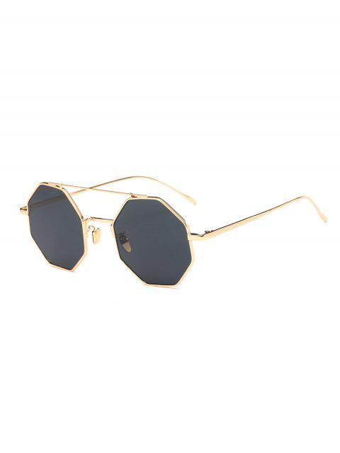 shop Retro Crossbar Polygonal Metal Sunglasses -   Mobile