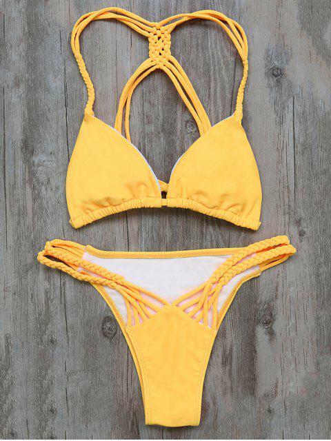 chic Braided Padded Bikini - YELLOW S Mobile