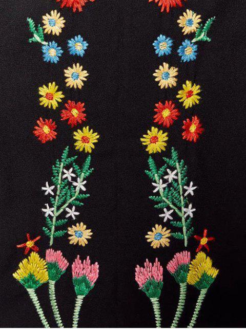 shop Floral Embroidered Lace Up Long Sleeve Dress - BLACK M Mobile