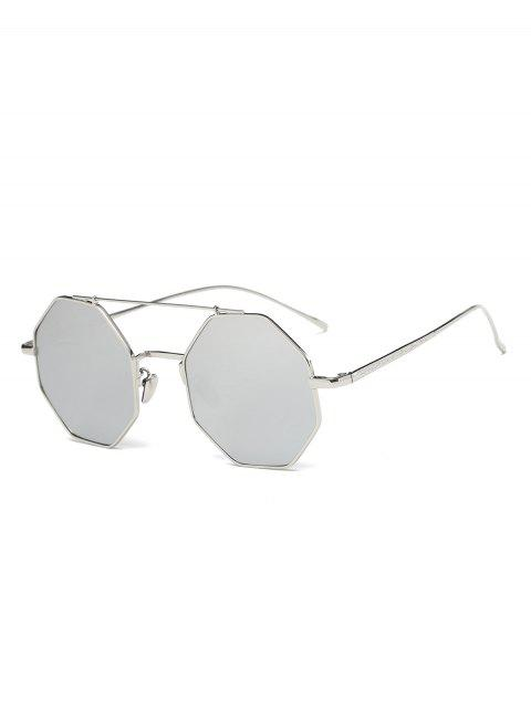 outfits Crossbar Polygonal Metal Mirrored Sunglasses - SILVER  Mobile