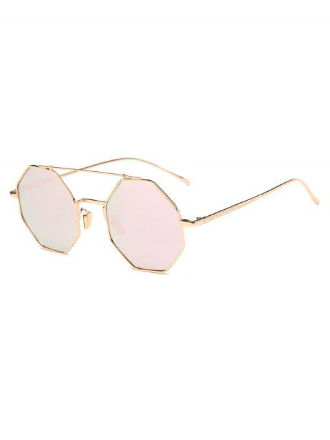 shop Crossbar Polygonal Metal Mirrored Sunglasses - SHALLOW PINK  Mobile