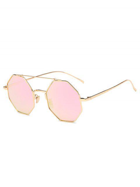 shops Crossbar Polygonal Metal Mirrored Sunglasses - PINK  Mobile