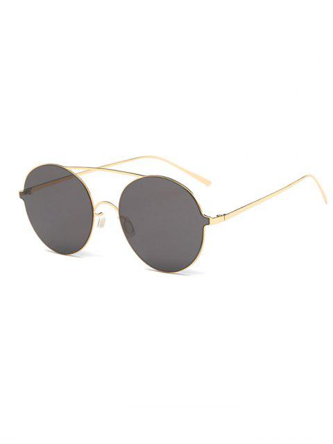 trendy Crossbar Metal Round Sunglasses - GOLDEN  Mobile