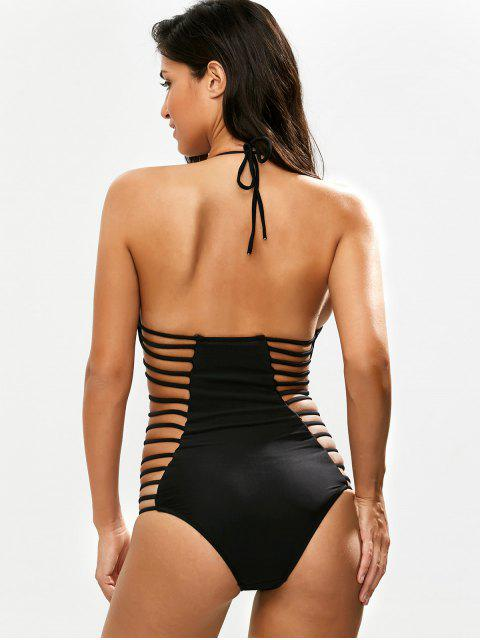 women's Strappy Plunging Neck Swimsuit - BLACK L Mobile