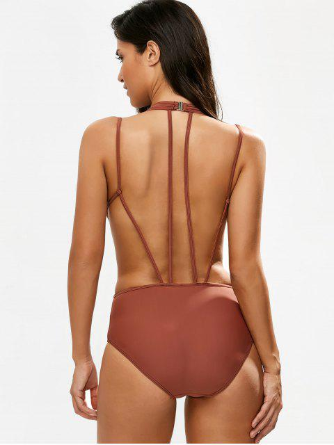 womens Strappy Caged High Leg Swimsuit - CLARET XL Mobile