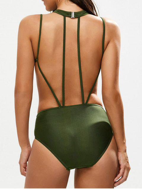 online Strappy Caged High Leg Swimsuit - ARMY GREEN M Mobile