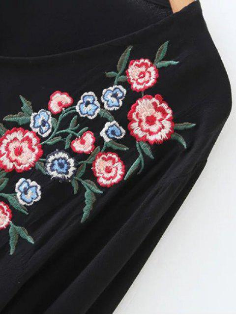 sale Smock Floral Embroidered T-Shirt - LIGHT GRAY ONE SIZE Mobile