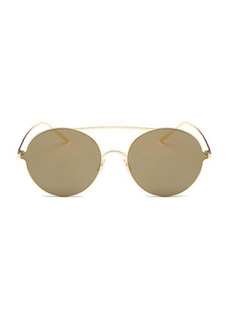 chic Crossbar Metal Round Mirrored Sunglasses -   Mobile