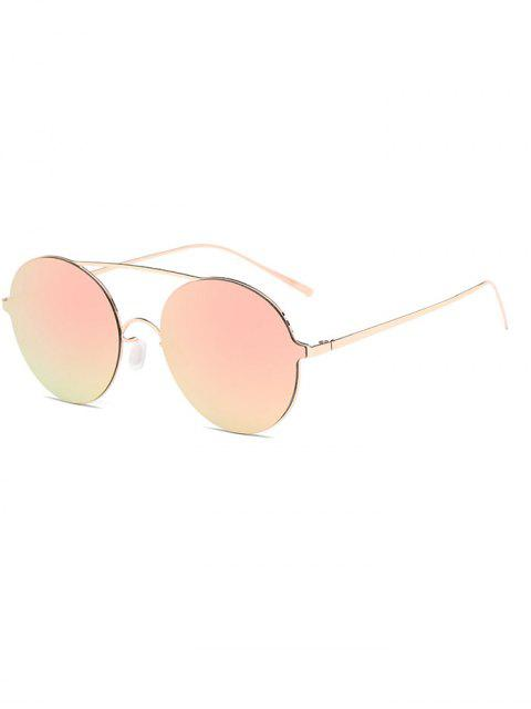 fancy Crossbar Metal Round Mirrored Sunglasses - SHALLOW PINK  Mobile