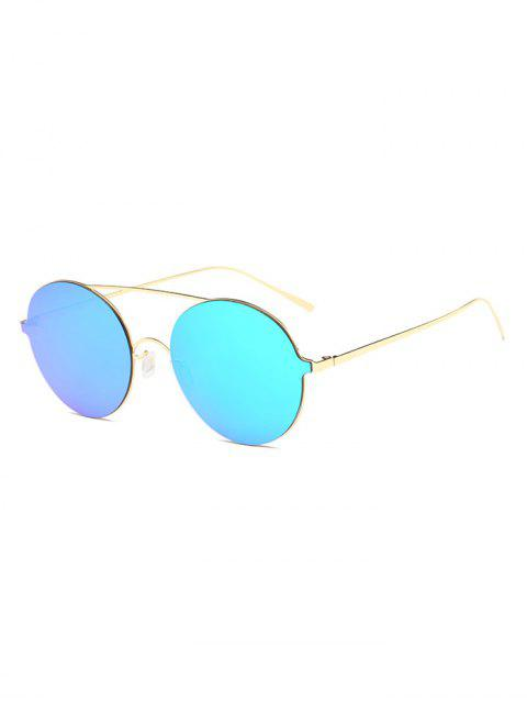 unique Crossbar Metal Round Mirrored Sunglasses - ICE BLUE  Mobile