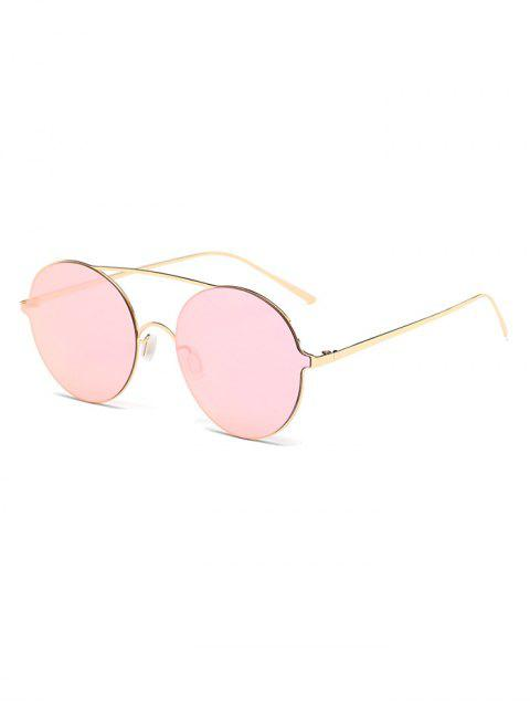 sale Crossbar Metal Round Mirrored Sunglasses - PINK  Mobile