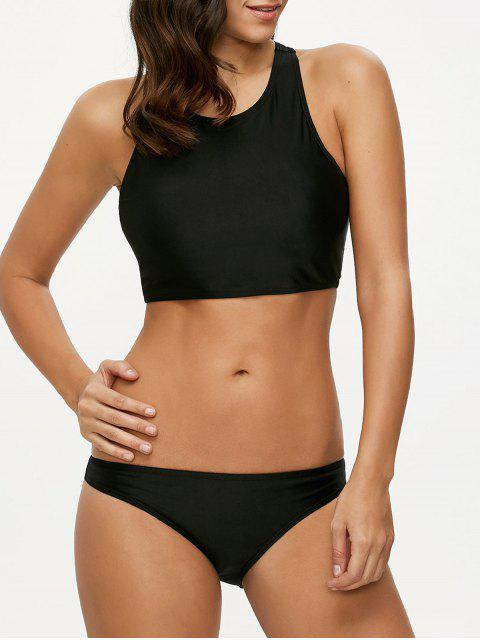 latest Padded High Neck Sporty Bikini Set - BLACK S Mobile