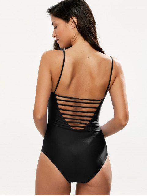 latest Hollow Out One-Piece Swimwear - BLACK S Mobile