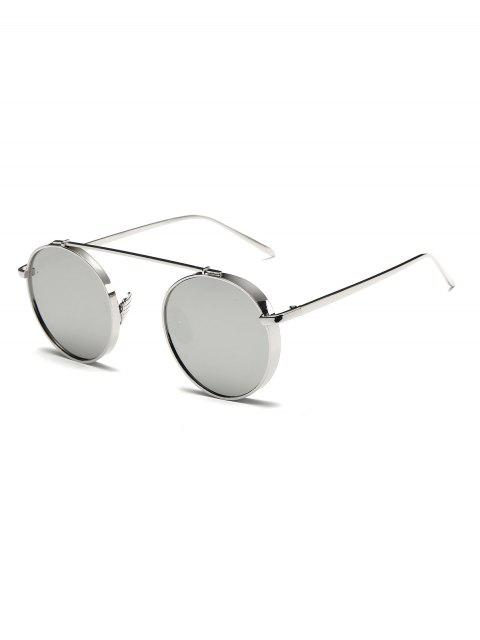 womens Chunky Frame Round Mirrored Sunglasses -   Mobile