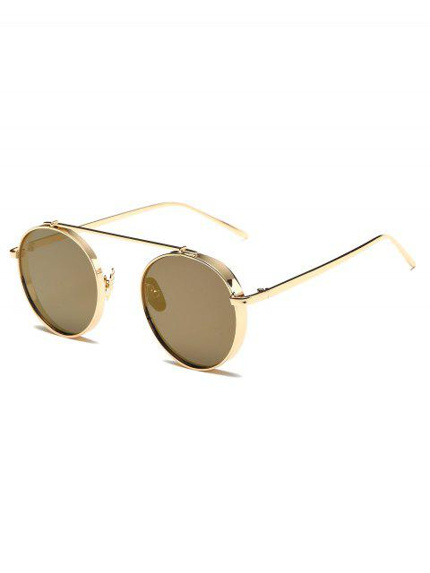 women Chunky Frame Round Mirrored Sunglasses - CHAMPAGNE GOLD  Mobile
