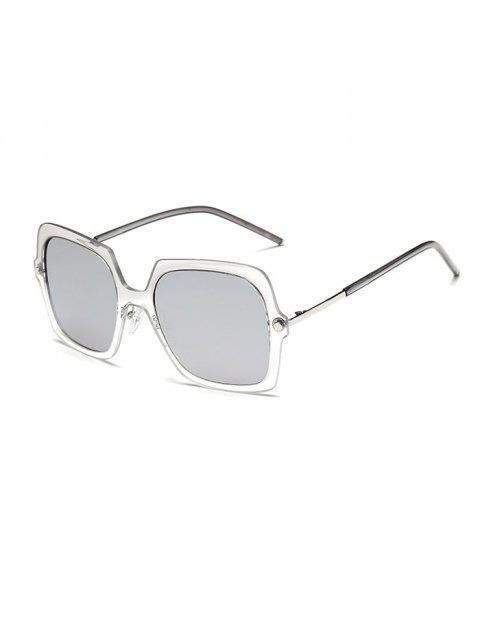 hot Ombre Rims Square Mirrored Sunglasses - SILVER  Mobile