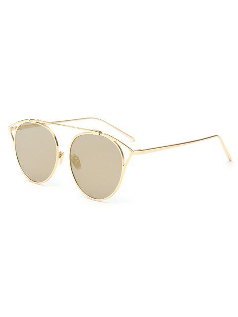 shops Hollow Out Metal Cat Eye Mirrored Sunglasses - GOLDEN  Mobile