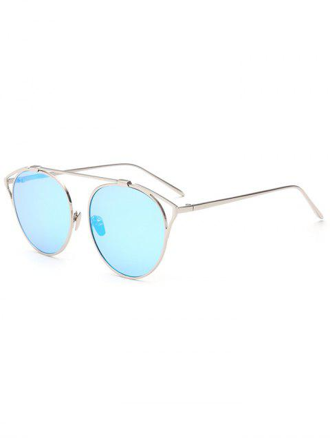 trendy Hollow Out Metal Cat Eye Mirrored Sunglasses - ICE BLUE  Mobile