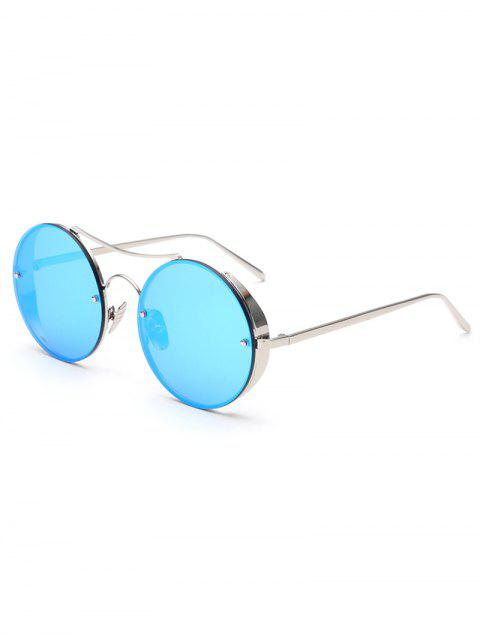 fashion Chunky Round Frame Mirrored Sunglasses - ICE BLUE  Mobile