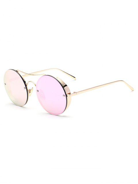 chic Chunky Round Frame Mirrored Sunglasses - PINK  Mobile