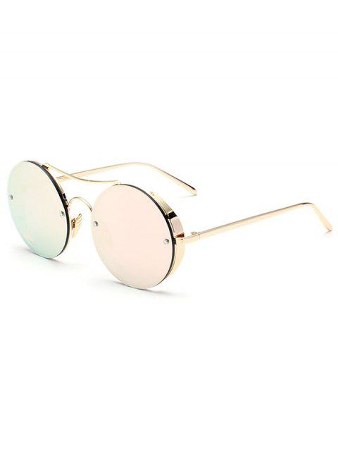 unique Chunky Round Frame Mirrored Sunglasses - SHALLOW PINK  Mobile