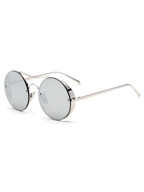 sale Chunky Round Frame Mirrored Sunglasses - SILVER  Mobile
