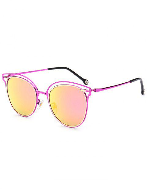 new Double Rims Cat Eye Mirrored Sunglasses - VIOLET ROSE  Mobile