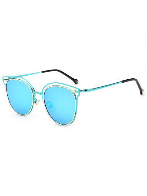 outfit Double Rims Cat Eye Mirrored Sunglasses - ICE BLUE  Mobile