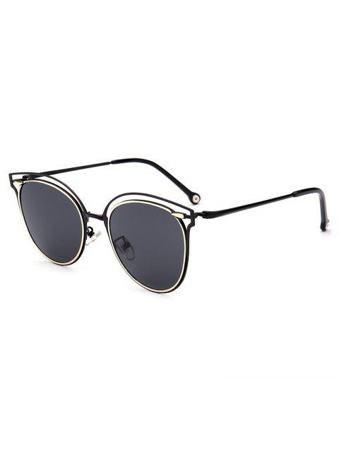 outfits Double Rims Cat Eye Sunglasses - BLACK  Mobile