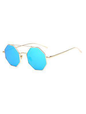 Crossbar Polygonal Metal Mirrored Sunglasses - Ice Blue