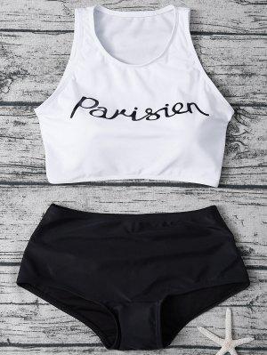 Bikini Col Haut Avec Shorts - Blanc Et Noir M