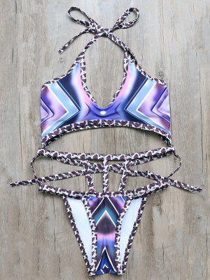 Patterned Harness Swimwear - Purple M
