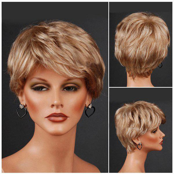 Short Layered Inclined Bang Straight Colormix Synthetic Wig 206485301