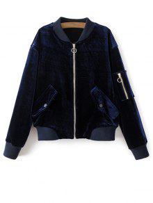 Poches Zippers Velvet Bomber Jacket - Bleu Royal S